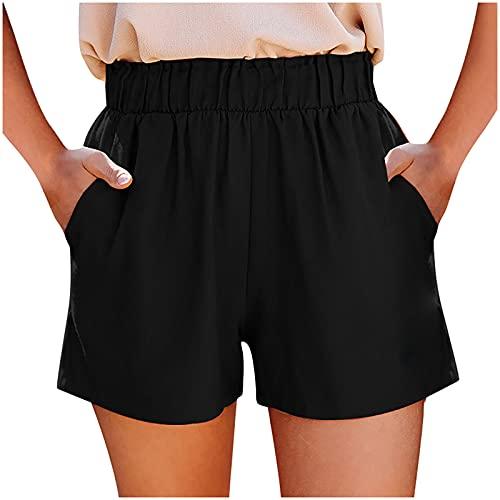 Mujeres de Moda Elástica Algodón y Lino Pantalones Cortos con Bolsillos de Color Puro Loose Shorts Acanalada Casuales de Playa Pantalones Verano Mujer Anchos