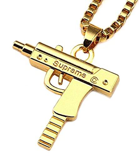 Materiale: lega. Lunghezza della catena: 60 cm. Larghezza della catena: 0,25 cm. Dimensioni del ciondolo: 2,6 cm x 3 cm. Collana con ciondolo a forma di arma automatica in lega, alla moda. Adatta per chi ama l'hip hop.