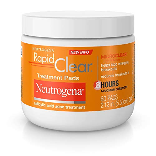 Neutrogena Rapid Clear Acne Face Pads with Salicylic Acid Acne Treatment Medicine to Fight Face Breakouts, Oil Free Pads with Maximum Strength Salicylic Acid Acne Medicine, 60 ct