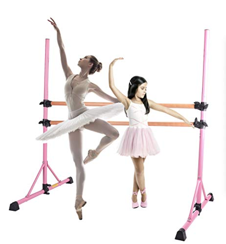 ZELUS 5 Feet Ballet Barre Pink for 2 People, Portable Double Freestanding Beech Wood Ballet Barre Adjustable Portable Heavy Duty Dancing Stretching Ballet Bar for Home, Dance Barre, Fitness Ballet Bar