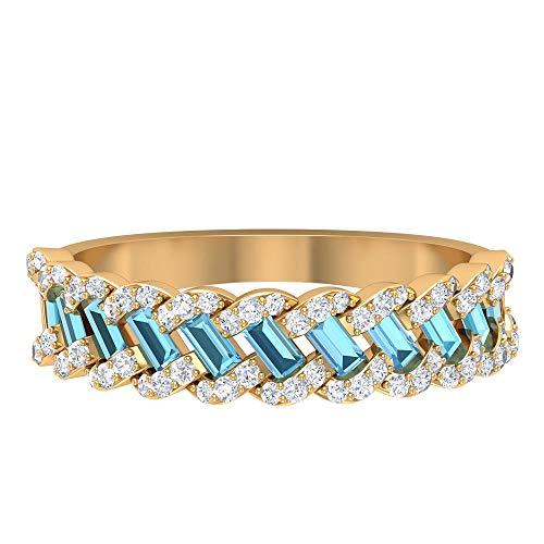 Anillo de boda antiguo, anillo de aguamarina con forma de baguette de 0,55 ct, anillo de diamante HI-SI de 0,31 ct, anillo trenzado único, anillo de piedra natal de marzo, banda de eternidad,