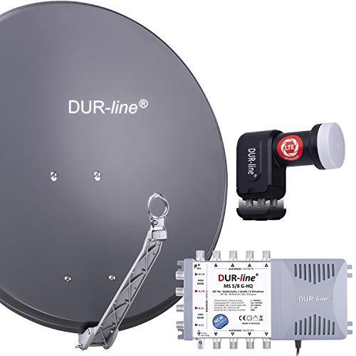 DUR-line 8 Teilnehmer Set - Qualitäts-Alu-Satelliten-Komplettanlage - Select 75cm/80cm Spiegel/Schüssel Anthrazit + Multischalter + LNB - für 8 Receiver/TV [Neuste Technik, DVB-S2, 4K, 3D]