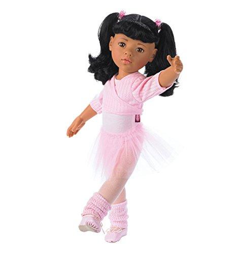 Götz 1159451 Hannah beim Ballett Puppe - 50 cm große Ballerina Stehpuppe mit schwarzen Langen Haaren und braunen Augen - 15-teiliges Set