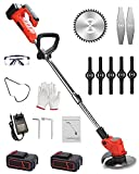 Cordless Weed Trimmers Portable Electric Stringless Lawn Mower, with Battery and Charger with Replaceable Plastic & Metal Blade for Lawn Garden Pruning and Trimming,red