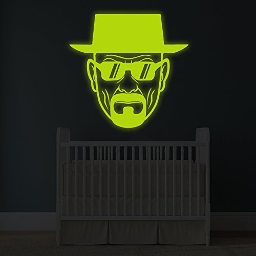 (180x 180cm) Glowing Vinyl Wand Aufkleber Breaking Bad Heisenberg mit Sonnenbrille/Glow in Dark Walter White Aufkleber/Leuchtziffern Wandbild + Gratis Aufkleber Geschenk macht.