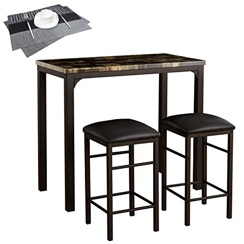 VECELO 3-Pieces High/Pub Table Set with 2 Bar Stools-2 Placemats Included, Black