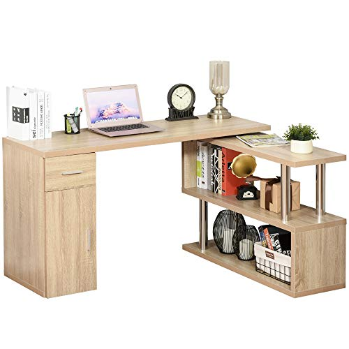 HOMCOM L-Shaped Rotating Computer Desk Home Office Study Workstation with Storage Shelves, Cabinet and Drawer for Home & Office, Natural