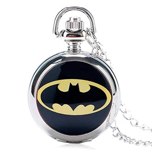 yunyu Montre de Poche pour Homme, The Dark Knight Batman Pendentif Collier Petit Cadeau de Montre de Poche en Argent, Cadeau pour Homme, Montres de Poche pour Homme mécanique