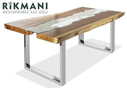 Esstisch Holz Tisch Baumkante Schreibtisch Massivholz mit Glas River 200 x 115 cm (Natur)