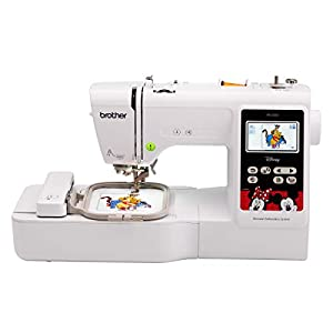 """Brother PE550D Embroidery Machine, 125 Built-in Designs including 45 Disney Designs, 4"""" x 4"""" Hoop Area, Large 3.2"""" LCD Touchscreen, USB Port, 9 Font Styles"""