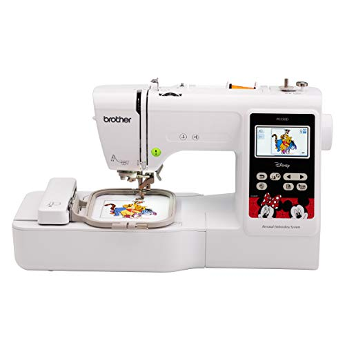 Brother PE550D Embroidery Machine, 125 Built-in Designs including 45 Disney Designs, 4' x 4' Hoop Area, Large 3.2' LCD Touchscreen, USB Port, 9 Font Styles