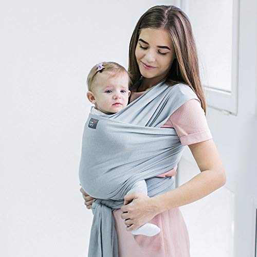 Love & Carry Fular portabebés suave y elástico desde 0 meses premados, 100% algodón natural (gris claro)