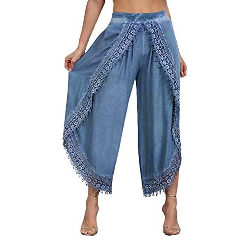 Zldhxyf Pantalones de pierna anchos, suaves, de primavera y otoño, azul, L