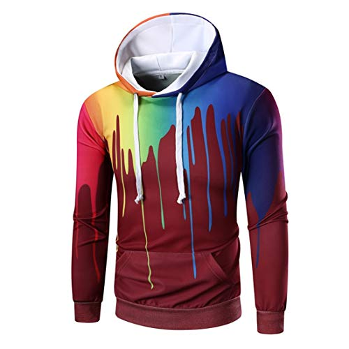 Hoodie Mens Casual Fashion Color Pigment Zip Hoodie Autumn and Winter New Outdoor Fitness Sport Drawstring Hoodie with Pockets XL Wine Red