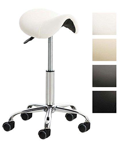 Tabouret de Travail RENO en Similicuir -Chaise de Travail Réglable en Hauteur 53-68 cm - Tabouret de Travail Pivotant - Support en Métal - Couleurs au Choix:, Couleurs:Blanc