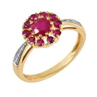 Hallmarked (375) 9ct Yellow Gold - total metal weight 2.474 grams Genuine Gemstones: Round cut Rubies totalling 1.110 carats & Diamond accents, totalling 0.024 carats. Ring Size: UK L, US 5 1/2, French 51 3/4, German 16 Ring come in a branded box wit...