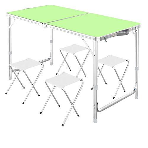 Mesa de picnic plegable para 4 personas, con 4 sillas, altura ajustable, portátil, adecuada para uso al aire libre, paraguas de protección solar se puede instalar - Verde (4 taburetes)