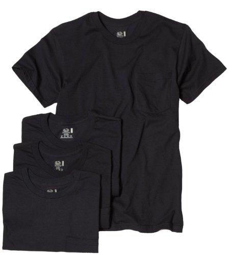 Fruit of the Loom Men's Pocket Crew Neck T-Shirt - X-Large - Black (Pack of 4)