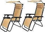 BTEXPERT CC5044BG-2 Zero Gravity Chair Lounge Outdoor Pool Patio Beach Yard Garden Sunshade Utility...