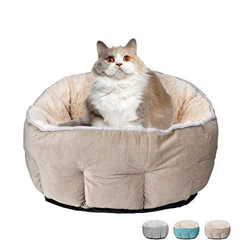 Cama para perros y gatos, cueva para mascotas, nido, extraíble, agujero para gatos, peluche, suave, redonda, color marrón claro