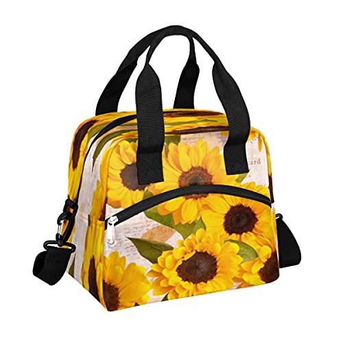MOMOYU - Bolsa de almuerzo con diseño de girasol, reutilizable, bolsa de picnic impermeable, organizador de almuerzo con correa de hombro ajustable para la escuela, playa, trabajo, deporte, viajes