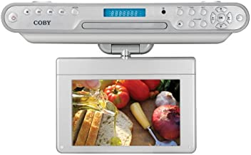 Coby KTFDVD7093 7-Inch Under-The-Cabinet LCD TV with Built-In DVD/CD Player and AM/FM Radio, White