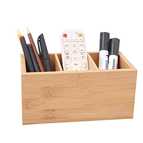 WQMA Portabolígrafos De Rejilla De Madera De Bambú Organizador De Escritorio para Estudiantes Y Suministros De Oficina