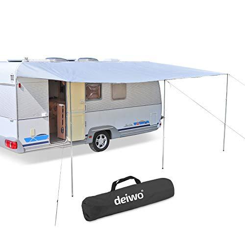 deiwo Premium Sonnensegel Sonnenvordach Markise Sonnensegel | grau | 300 x 240 cm | für Wohnwagen Wohnmobil Bus