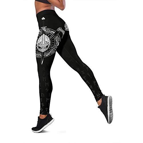 Viking 3D Graphic Odin Casco de mujer con hachas cruzadas, leggings de cintura alta, estilo vintage, ropa deportiva de compresión de longitud completa, pantalones de yoga, color negro, XL