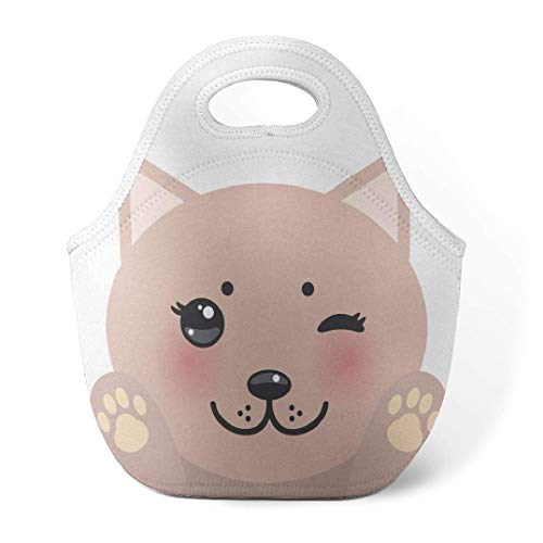HGHGH Bento portátil Kawaii Lunch Insulated Neoprene Lunch Bag for Women,Men and Kids Kawaii Funny Pink Cat with and Face Reusable Soft Lunch Tote for Work and School Art Print Lunch Bag Pink Baby Wh