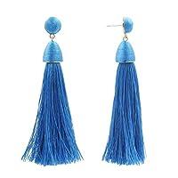 ヴィンテージ タッセルブラブライヤリングフリンジスレッド ドロップスタッドピアス 女性用 - 青