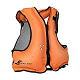 OMOUBOI Inflatable Swim Vest for Adult, Buoyancy Aid Safety Snorkel Flotation Jackets for Women Men Kayaking Swimming Fishing Boating Diving Vest for Water Sports Beginner 80-220 lbs(Orange)