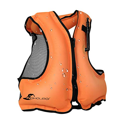OMOUBOI Inflatable Snorkel Vest for Adult, Floatage Buoyancy Aid Swimming Vest Lightweight Kayak Diving Jackets for Snorkeling with Leg Straps Suitable for 90-220 lbs Outside Water Fun(Orange)