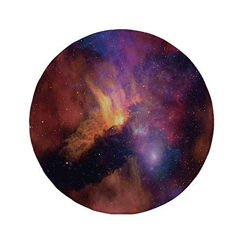 Rutschfreies Gummi-Rundmaus-Pad Weltraumdekorationen Weltraumsterne und Nebel Gas- und Staubwolke Celestial Solar Galacy Systemdruck Lila Rot Orange 7.9