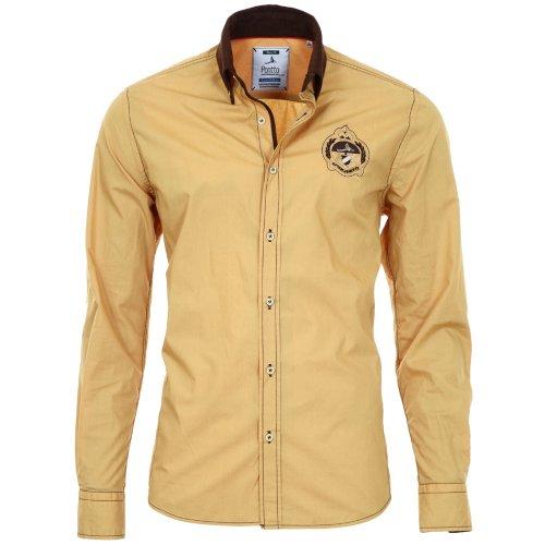 Pontto Designer Hemd Shirt in gelb Ocker braun Langarm Modern-Fit Gr.L