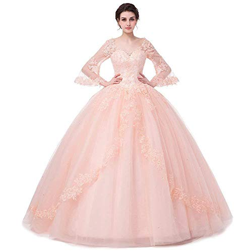 MARSEN Women's Beaded Lace Applique Quinceanera Ball Gowns with Sleeves Long