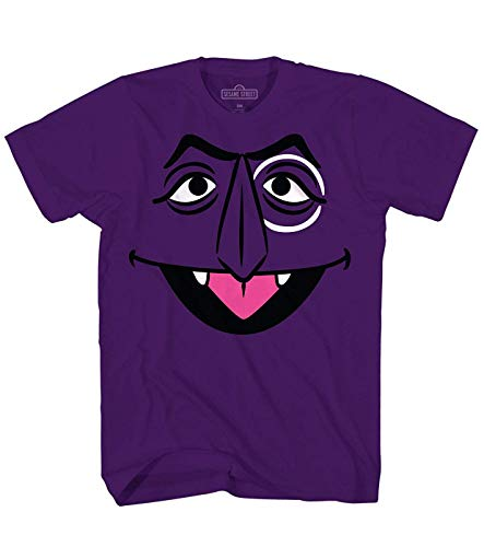 Barrio Sésamo Camiseta Conde Von Count gráfico Cara Grande Algodón púrpura Medio tee