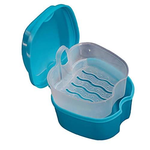 Starke Zahnersatz- Box mit einfachen Retrieval Tab Zahnprothesenbad Fall Simulation Zähne Lagerung Premium-Mund-Schutz-Box perfekt Safe Guard Gebisse und Kostbarkeiten (blau)