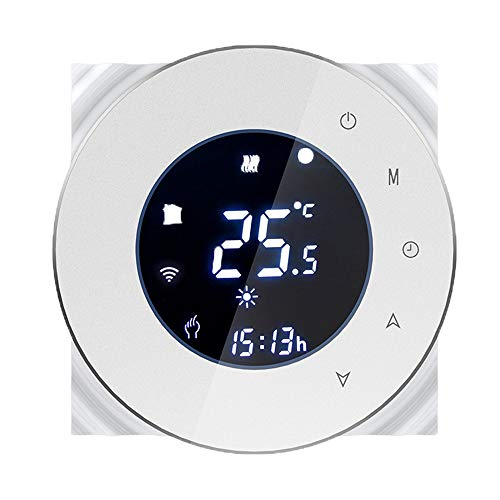 Termostato WiFi para caldera de gas, pantalla LCD (pantalla VA) Botón táctil Termostato de control de programación de la caldera Compatible con Alexa Google Home y Smartphone Aplicación redonda