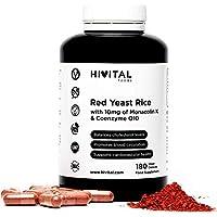 Levadura de Arroz Rojo con 10 mg de Monacolina K y 5 mg de Coenzima Q10 | 180 cápsulas vegetales | Suministro para 6 meses | Regula los niveles de colesterol sanguíneo | Libre de Citrininas