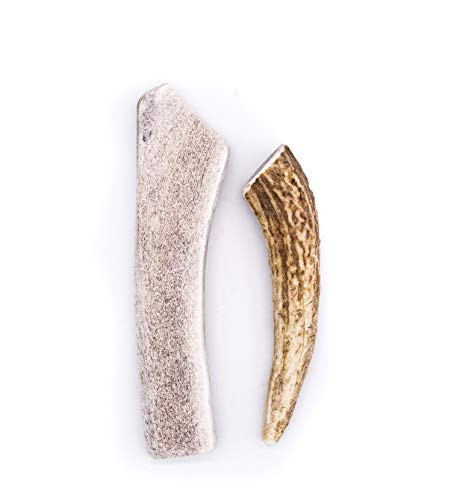 Perfect Pet Chews Split/Whole Elk Antler Combo Pack - Grade A, All Natural, Organic, and Long Lasting Treats - Made from Naturally Shed Antlers in The USA - Small Treat - 2 Pack