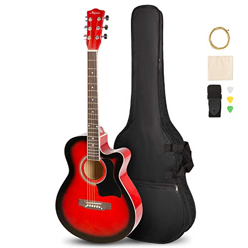 ARTALL Kit per principianti per chitarra acustica in legno massiccio fatto a mano da 39 pollici con custodia protettiva, accordatore, corde, plettri, cinturino, Tramonto lucido