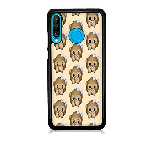 Funda Carcasa compatible con Huawei P30 Lite Whatsapp emoticon de mono pequeño no habla / Vuelos de aluminio con goma en los lados. / TPU antideslizante anti-scratch resistente a los golpes resistent