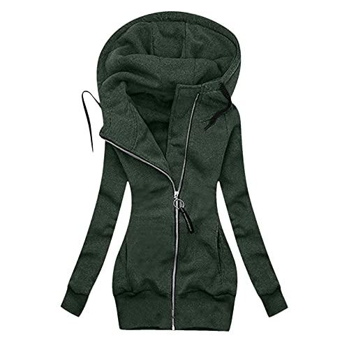 Fxkareiten Sudadera con capucha para mujer, para otoño e invierno, manga larga, con capucha, cremallera, ligera, de entretiempo, con cordón ajustable, con capucha, chaqueta de invierno, Verde#92, M