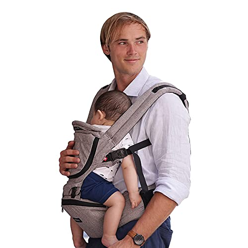 MiaMily Hipster Plus Hip Seat Baby Carrier Ergonomic, 6 in 1 Front and Back, Lumbar Support, Newborn to Toddler, Infant & Child Carrier, Stone Grey