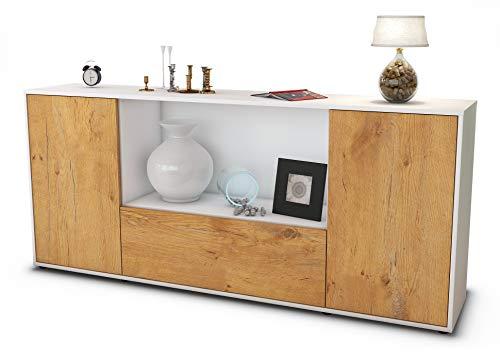 Stil.Zeit Sideboard Ella/Korpus Weiss matt/Front Holz-Design Eiche (180x79x35cm) Push-to-Open Technik