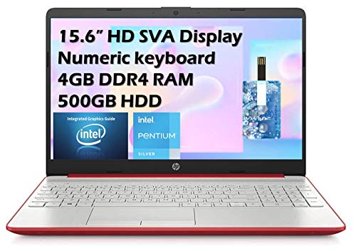 "2021 HP Flagship Pavilion 15.6"" HD Laptop Computer, Intel Dual-core Pentium Processor, 4GB RAM, 500GB HDD, Intel UHD Graphics 605, Bluetooth, USB-C, HDMI, Win 10, Scarlet Red with E.S 32GB USB Card"