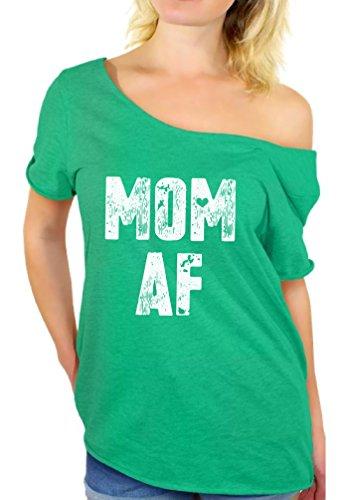 Awkward Styles Mom AF Off Shoulder Shirt Women's Mom Flowy for Mom Heatherkelly L/XL