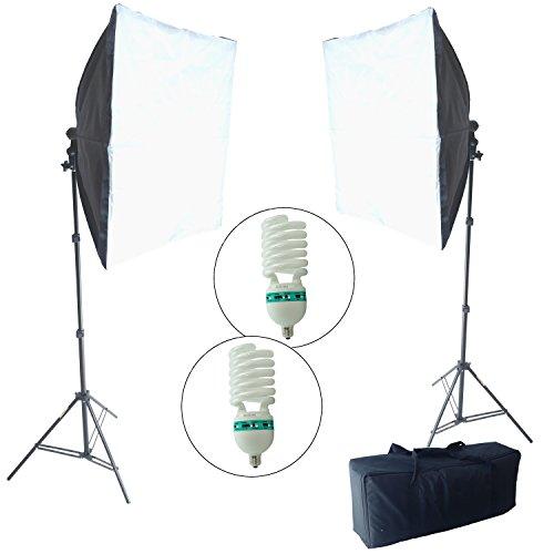 DYNASUN KSB85 60x60cm 800W Easy Folder Studioset Studiolamp Softbox Double Kit met statief en daglichtlamp