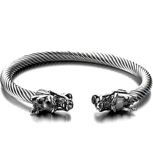COOLSTEELANDBEYOND Elastic Adjustable Mens Dragon Bracelet Steel Twisted Cable Bangle Cuff Bracelet Silver Color Polished